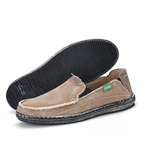SANBANG Männer Slip-On Loafers Flach Leinwand Bootsschuhe Für Fahren Gehen Jäten Im Freien Braun