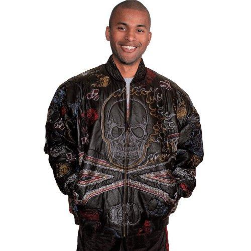 Wilda Men's Flaming Skull Embroidery Jacket-4XL-Black