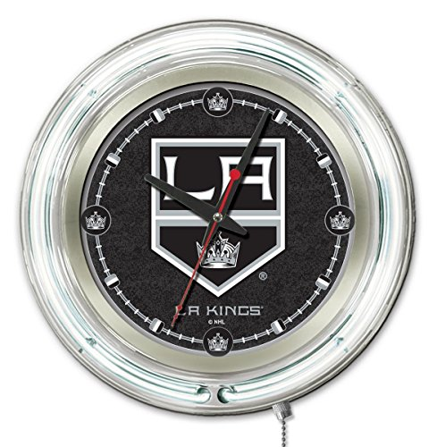 Holland Bar Stool Co. Los Angeles Kings HBS Neon White Hockey Battery Powered Wall Clock ()