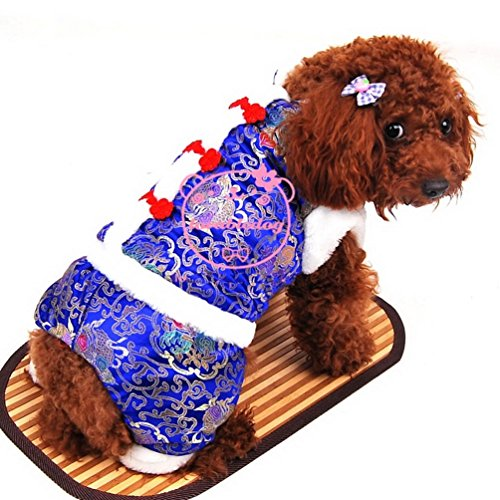 smalllee_lucky_store Small Dog Flower Print Chinese Tang Costume Four Legged Jumpsuit, Blue, (3 Legged Dog Costumes)