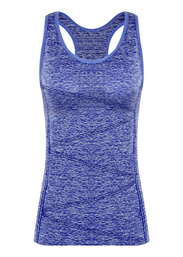 - DISBEST Yoga Tank Tops for Women, Stretchy Sleeveless Shirt Workout Running Tops with Removable Bra Pads Dark Blue M