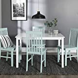 white kitchen table and chairs New 5 Piece Chic Dining Set-Table and 4 Chairs-White/Sage Finish