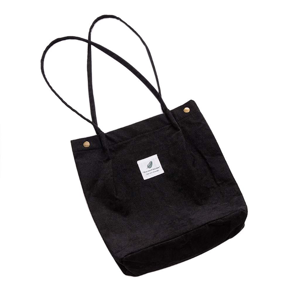 Belsmi Womens Corduroy Shoulder Tote Bag