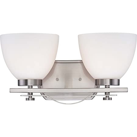 Nuvo Lighting 60 5012 Bentley Two Light Vanity 100 Watt A19 Max. CUL Damp Location Frosted Glass Brushed Nickel Fixture