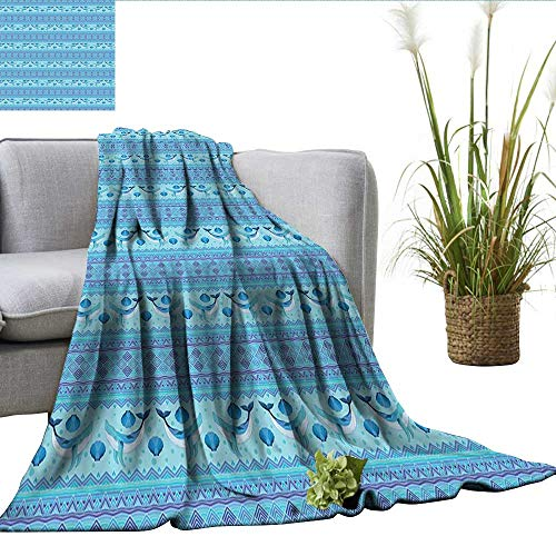 rees of Comfort Weighted Blanket Ocean Inspired Pattern with Ethnic Geometrical Borders Fish and Scallops Office Blanket Turquoise Lilac Blue W60 xL70 ()