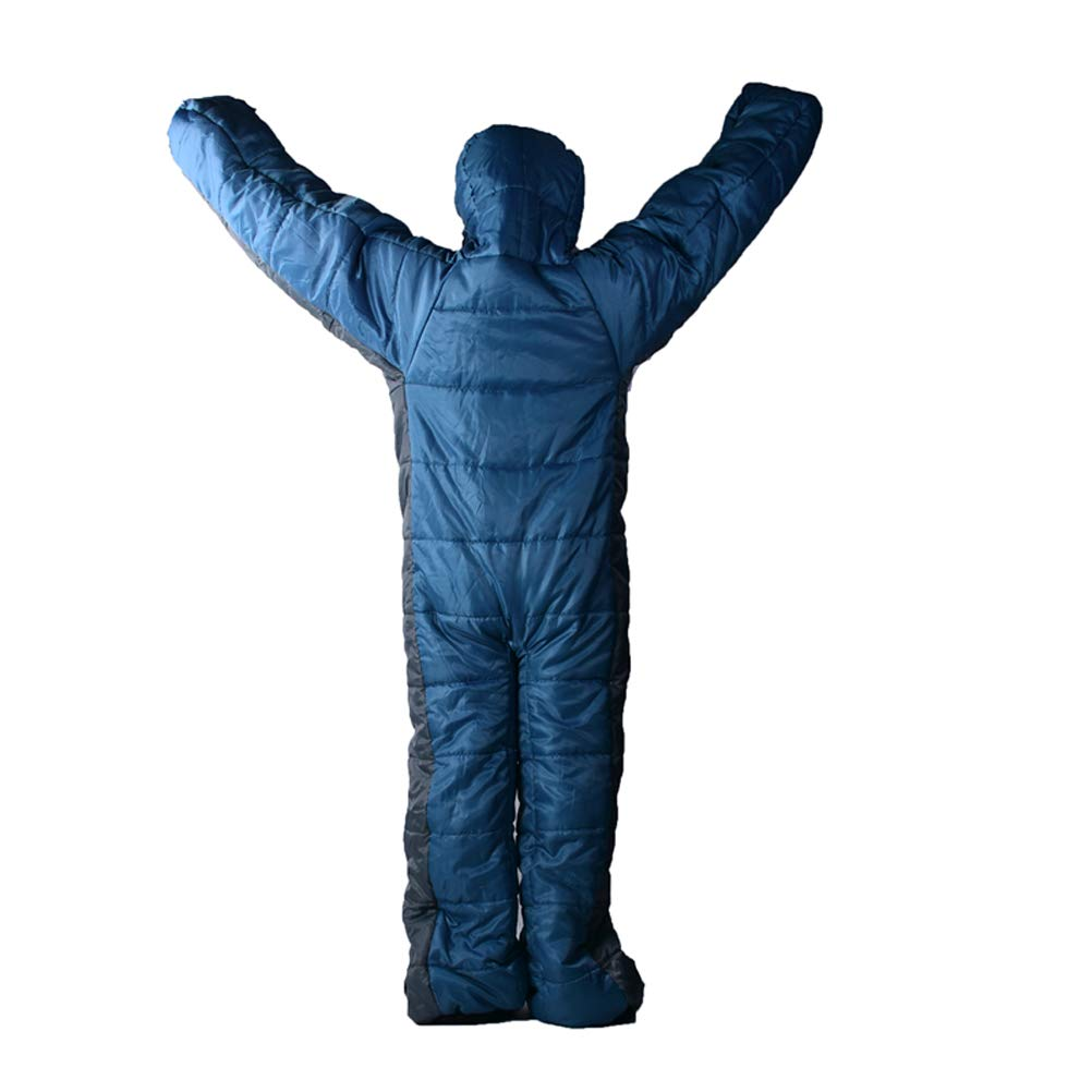 Forma Humana,Dise/ño de la Cremallera Wing Adulto/Usable Traje de Saco de Dormir para Camping,De pie 3 Temporada Ropa de Dormir de Cuerpo Completo para Viajes de Senderismo al Aire Libre