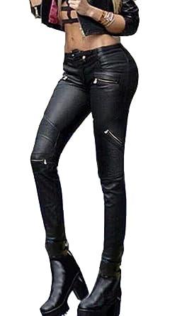 acb8b62236d6 Ghope Damen Hose Hüfthose Lederimitat Kunstlederhose Skinny  Amazon ...