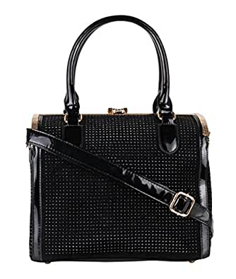 4346-BLK-OS: Gem Studded Patent Box Tote