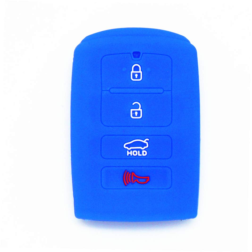 WFMJ 2Pcs Red Blue Silicone for Kia Cadenza K7 K900 K9 SY5KHFNA04 4 Buttons Smart Remote Key Case Cover Case
