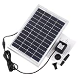rivenan Bomba de Solar de 12V, 5W, potencia panel Kit Bomba de agua solar para estanque de jardín fuente piscina