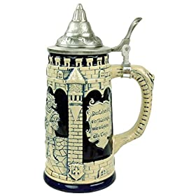 Beer Stein German Castle Festive Engraved Cobalt Blue Lidded Beer Mug by E.H.G. | .60 Liter