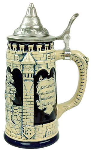 Collectible German Castle Festive Engraved Cobalt Blue Beer Stein with metal ()