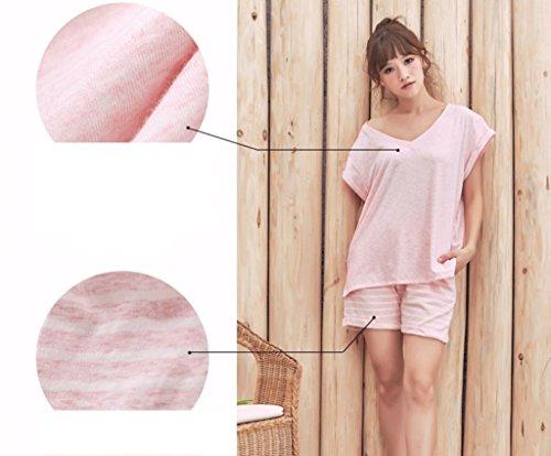 Traje de servicio a domicilio de pijamas de manga corta de verano de las mujeres de rayas ( Color : Pink , Tamaño : S ) Pink