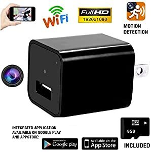 Wifi Hidden Spy Camera,1080P HD Mini USB Wall Charger Nanny Cam,With Motion Detection,Support IOS,Android,iPhone App Remote Video Viewing For Home Security (8gb SD Card Included) By Fifi Spectrum