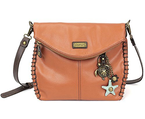 Chala Charming Crossbody Bag With Flap Top | Flap and Zipper Orange Cross-Body Purse or Shoulder Handbag with Metal Chain - Turtle
