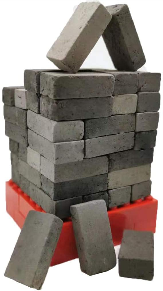 MOMAA 1/12 Mini Bricks Model Miniature Brick-Scale Wall Bricks Sand Table Micro Landscape Accessories DIY Dollhouse Bricks Diorama Fairy Garden (red+Grey) (Gray)
