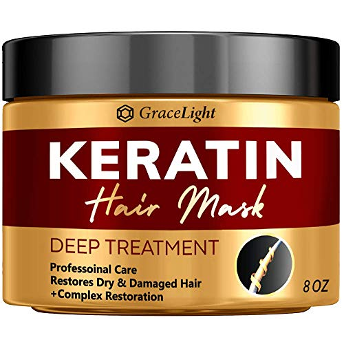Keratin Hair Treatment - Repairs Dry & Damaged Hair - Professional Keratin Complex with Vitamin E - Aloe Vera - Avocado Oil - Moisturizing Anti Frizz Hair Mask - Keratin Hair Mask Deep Conditioner - Made in USA
