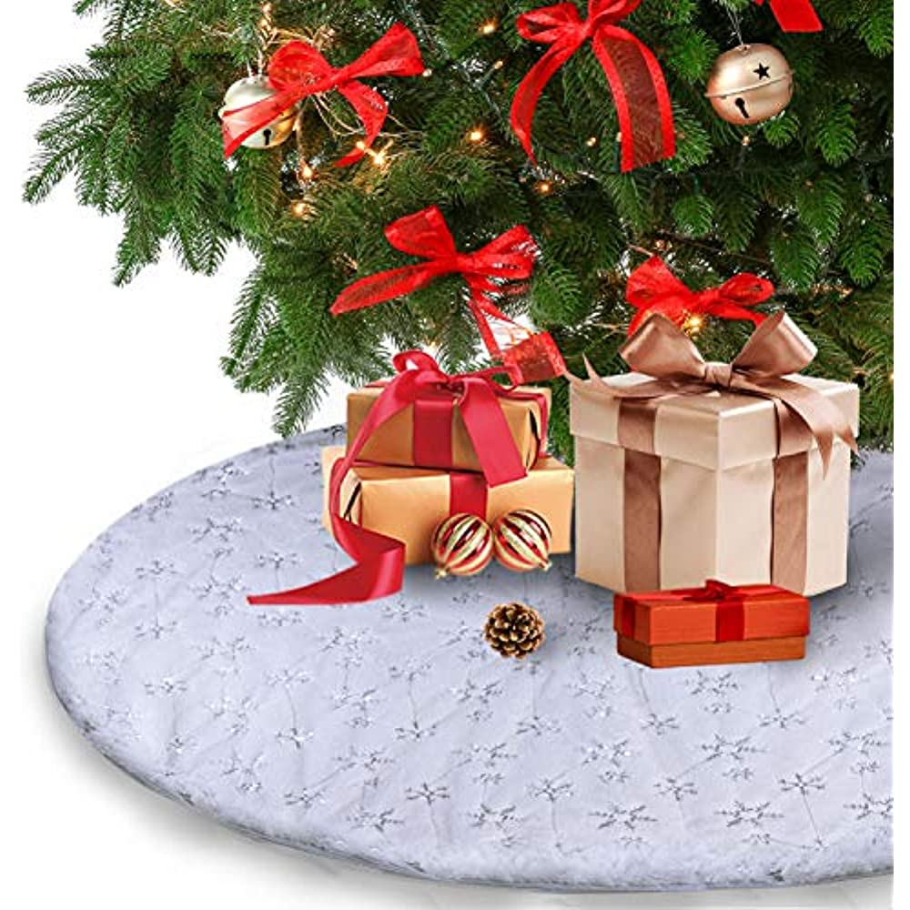 Christmas Tree Skirt - 35 Inches White Luxury Soft Faux ...
