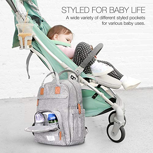 51h1HHgEh8L TETHYS Diaper Bag Backpack [Multifunction Waterproof Travel Back Pack] Maternity Baby Nappy Changing Bag Ideal for Mom and Dad, Large Capacity and Stylish Organizer for Baby Care - Gray    Product Description