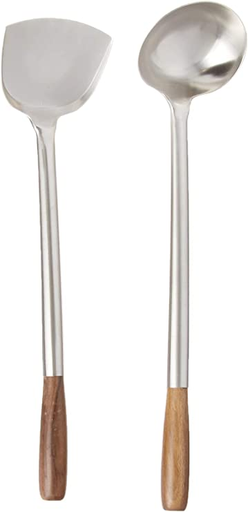 Details about  /1x Kitchen Wok Spatula Ladle 17'' Spatulas For Wok Stainless Steel Tools N3G3