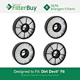 4 - Dirt Devil F8 (F-8) HEPA Replacement Filter, Part # 3UD0280001. Designed by FilterBuy to fit Dirt Devil Ultra Vision Turbo & Power Streak Vacuum Models