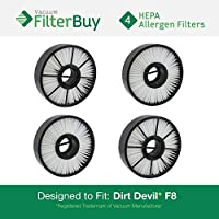 4 - FilterBuy Dirt Devil F8 (F-8) HEPA Replacement Filter, Part # 3UD0280001. Designed by FilterBuy to fit Dirt Devil Ultra Vision Turbo & Power Streak Vacuum Models