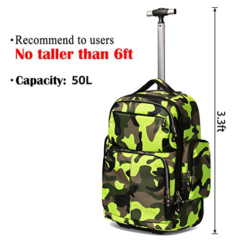 20 inches Big Storage Waterproof Wheeled Rolling Backpack Travel Luggage for Boys Students School Books Laptop Bag, Green Camouflage by HollyHOME (Image #3)