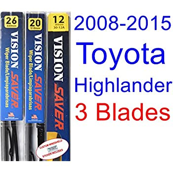 Amazon.com: 2008-2015 Toyota Highlander Replacement Wiper Blade Set ...