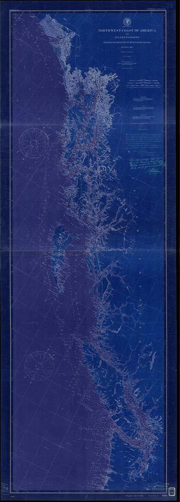 Vintography NOAA Blueprint Style 18 x 24 Nautical Chart North West Coast of America and Inland Passages, Olympia, Washington to Mount Saint Elias, Alaska Tourist Map U.S. Coast Survey 55a