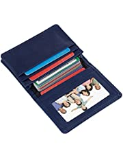 Mini Leather Credit Card Case Small Card Holder Wallet with ID Window for Men and Women