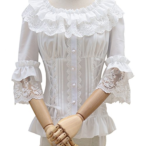 Smiling Angel Ruffle Retro Chiffon Half Sleeve Victorian Lolita White Blouse