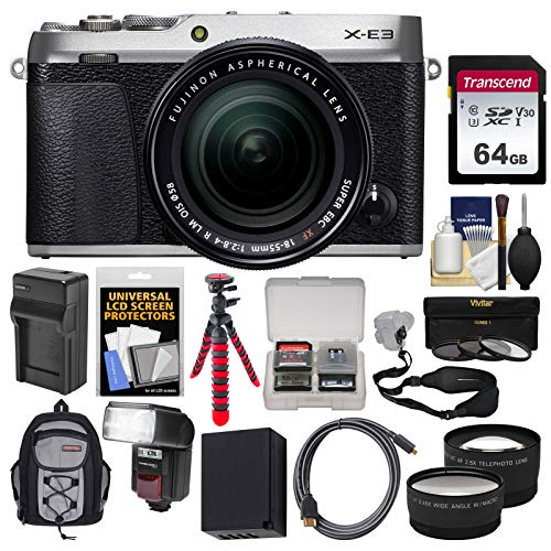 Fujifilm X-E3 4K Digital Camera & 18-55mm XF Lens (Silver) with 64GB Card + Backpack + Flash + Battery & Charger + Tripod + Filters Kit