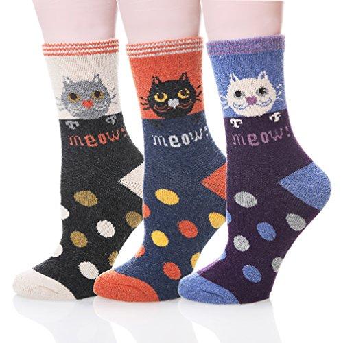 Velice Women's Cute Design Super Thick Warm Cozy Crew Winter Socks,One Size,Cat