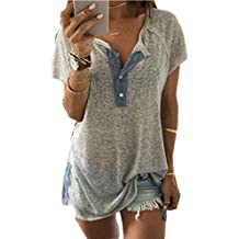 Clearance Sale! Women Shirts WEUIE Floral V Neck Print Loose Beach Ladies Casual T Shirt Tops Blouse Top