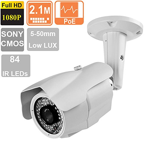 (License Plate Recognition IP Camera 2.1MP 1080P 5-50mm Varifocal Lens 84 IR LEDs)