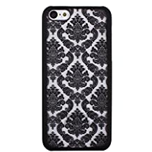 Bestpriceam Cheap Carved Damask Vintage Pattern Matte Hard Case Cover for Iphone 5c (Black)