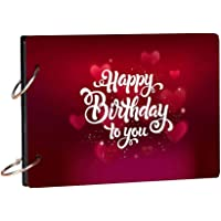 100yellow Happy Birthday to You Wooden Photo Album Scrapbook for Memories & Gifting (21.7 cm x 15.7 cm, Red)