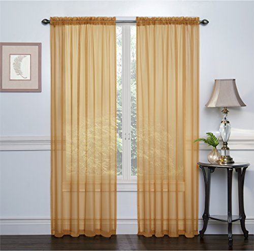 Regal Home Collections Crystal Sheer Voile Rod Pocket Panel Pair, 108 by 84-Inch, Gold, Set of 2 (Sheer Polyester Panel Curtains)