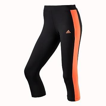 Adidas Tight PES Kinesics Damen Fitnesshose Sporthose 3/4 Hose Black-Flash  Orange S90608