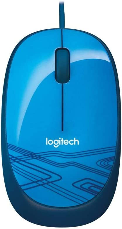 Logitech M105 Wired USB Mouse, 3-Buttons, 1000 DPI Optical Tracking, Ambidextrous PC/Mac/Laptop - Blue