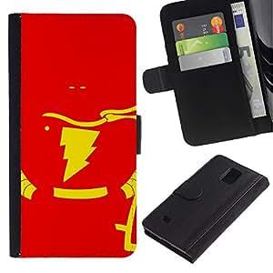 NEECELL GIFT forCITY // Billetera de cuero Caso Cubierta de protección Carcasa / Leather Wallet Case for Samsung Galaxy Note 4 IV // Flash Superhéroe