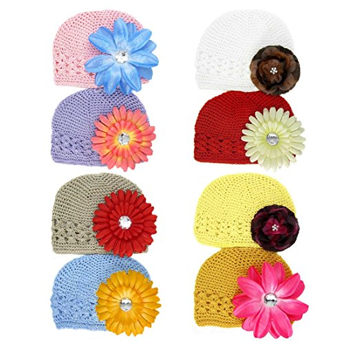 Crochet Flower Clip - KF Baby Soft Crochet Beanie Hat with Flower Clip, Set of 8 (8 Hats + 8 Clips)