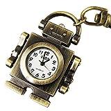 YouYouPifa Copper Robot Pendent Key Chain Ring Quartz Pocket Watch