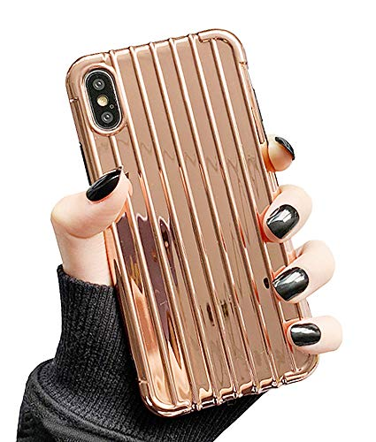 (UnnFiko Bumper Case Compatible with iPhone XR, Fashion Trunk Design, Soft TPU Rubber Shining Flexible Shockproof Case Covers (Rose Gold, iPhone XR))