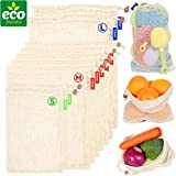 Cotton Reusable Produce Vegetable Bags|Cotton Cloth Mesh Muslin Produce Grocery Storage Bags Small Medium Large 9 Pack