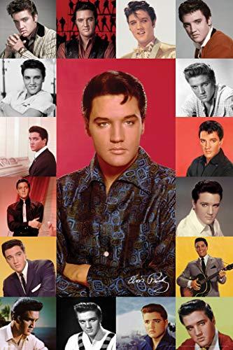 (Elvis Presley Portrait Composite Music Poster 24x36 inch)