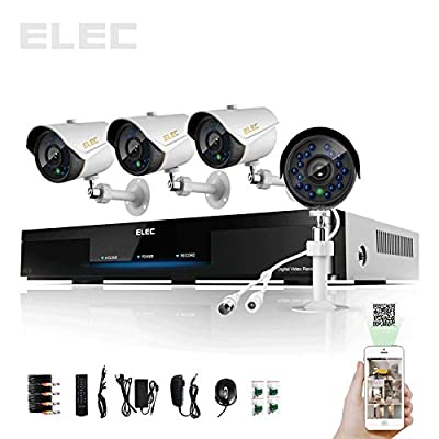 ELEC 4 CH Channel Real Time in Home Security Camera System 960H HDMI CCTV DVR Security System with 4 800TVL Outdoor Waterproof Security Cameras with Night Vision and Audio