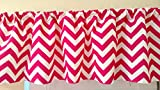 Hot Pink Chevron Valance Curtain, Girl Baby Nursery window treatment. Bright Pink Children , teens. 54