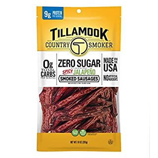 Tillamook Zero Sugar Spicy Jalapeno Keto Friendly Smoked Sausages, 10 Ounce