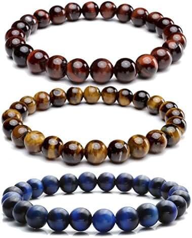 JOVIVI 8MM Natural Gemstone Healing Power Round Elastic Stretch Bracelet Variation Colors and Material